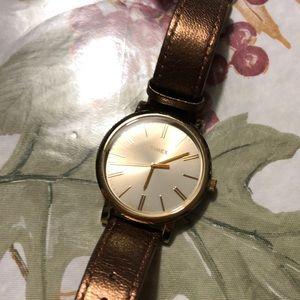 Brown Metallic & Gold Watch
